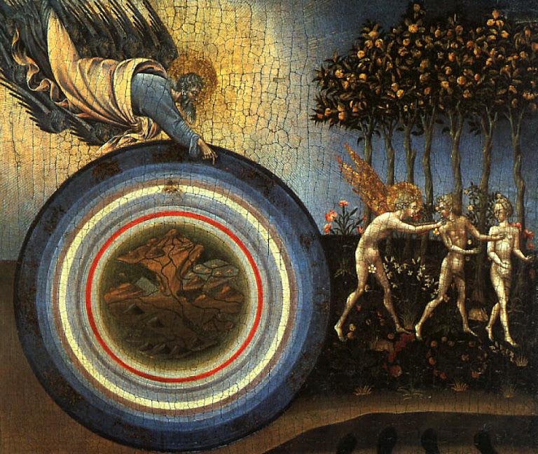 A Criação e a expulsão do Paraíso. Nesta pintura do século XV também a Terra aparece toda unida. Giovanni Di Paolo  (1403 — 1482). Metropolitan Museum of Art, New York City.