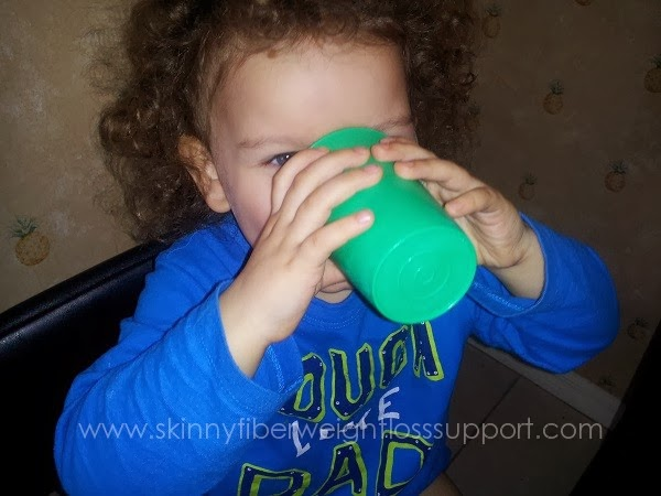 Our toddler loves this wheatgrass, spinach, strawberry smoothie. This gives him servings of vegetables and fruit.