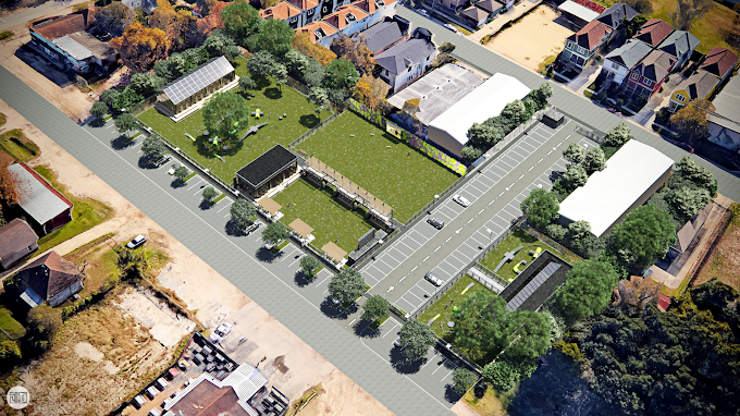 Dog Park, USA - 3D Site Plan with Google Earth Imagery