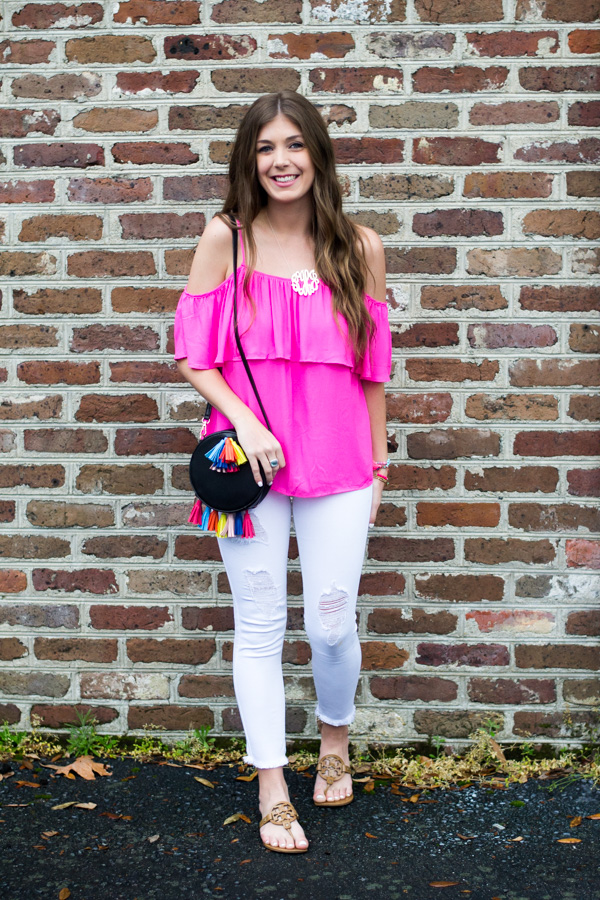 Hot Pink Ruffle Top and Tassel Purse