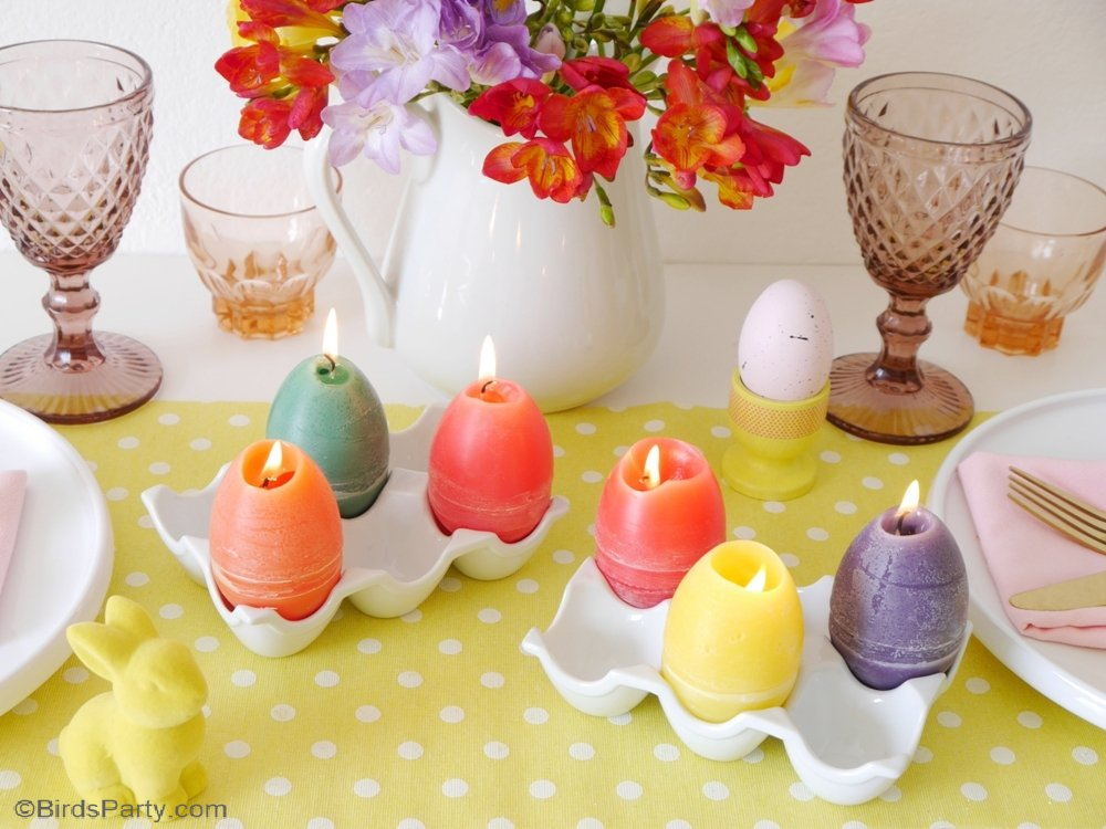 DIY Easter Egg Candles - easy and fun to make craft idea using plastic eggs, perfect to decorate spring tables or to gift as a handmade party favor! by BirdsParty;com @birdsparty #diy #crafts #diycandles #eastercabndles #diyeastereggcandles #easter #eastercandles #eggcandles