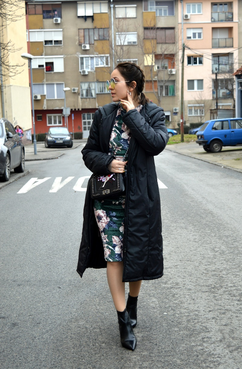 how to style floral dress for winter shein
