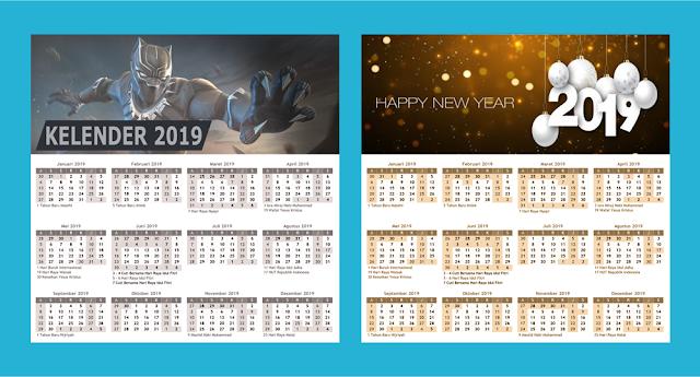 Desain Kelender 2019 Menggunakan Photoshop Lengkap Beserta File PSD