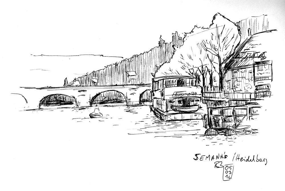 Seemanns Café Neckar Heidelberg Urban Sketchers Heidelberg