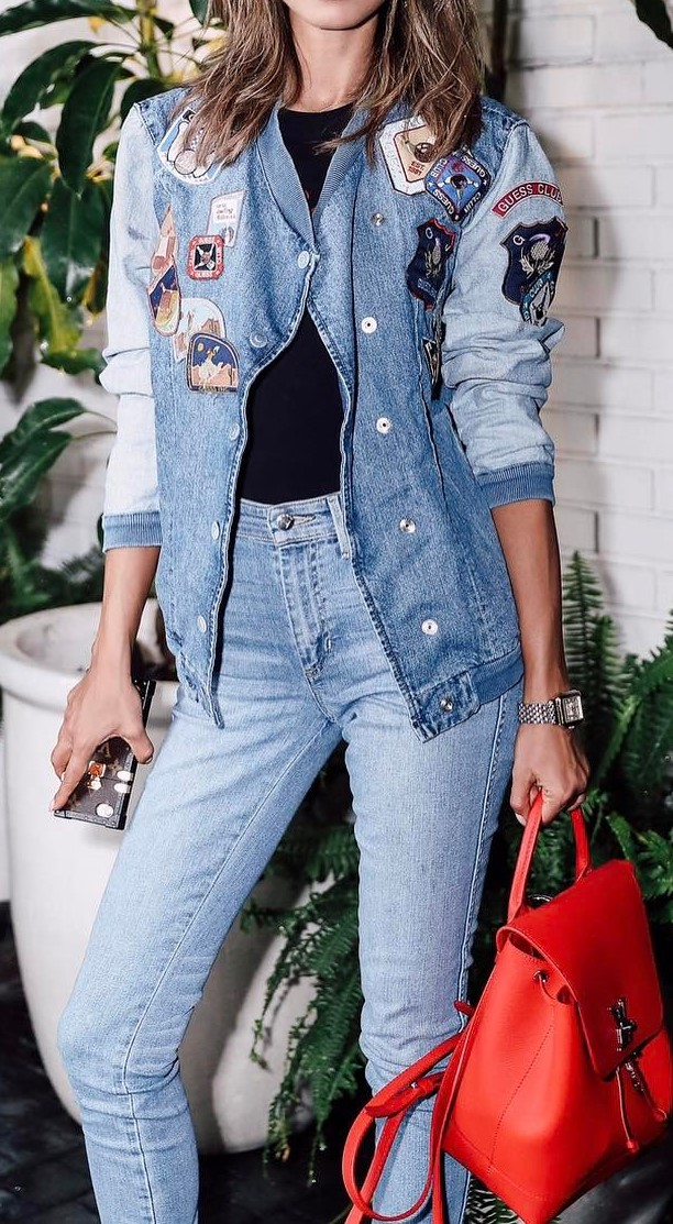 all denim everything + red bag