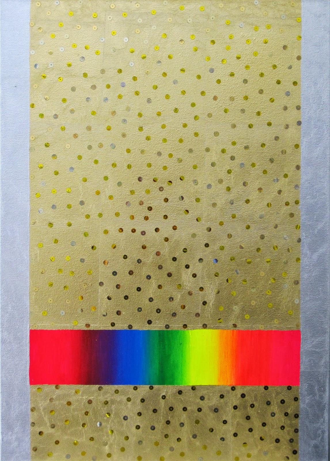 Abstrakte Malerei Licht mit Acryl, Schlagmetall und Pailetten