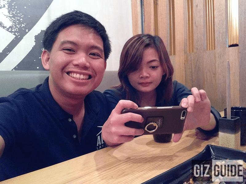 Selfie in dim semi fine dining light