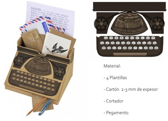 organizador cartón, máquina escribir vintage, juguetes cartón, escolar, plantillas