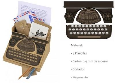 Máquina de escribir vintage organizador de cartón