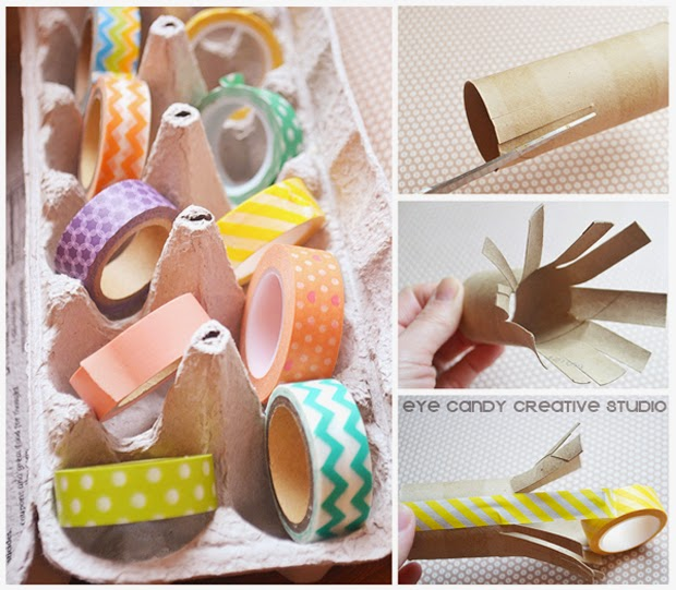 toilet paper roll craft, washi tape decor, egg carton, easter eggs
