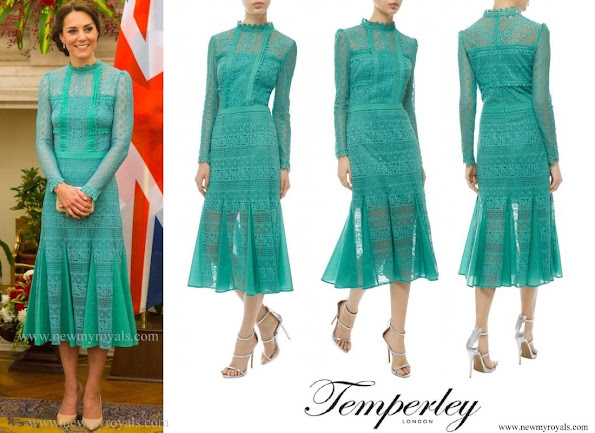 The Duchess wore Temperley London Desdemona dress from the Autumn 2016 Collection. Duchess carried her L.K. Bennett Natalie clutch