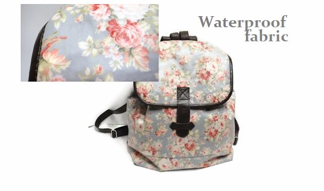 Backpack, Waterproof fabric, женский серо-голубой рюкзак из водонепроницаемой ткани в цветочек
