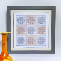 Circles and squares shadow effect modern print and stitch on card hand embroidery paper pricking download pattern.