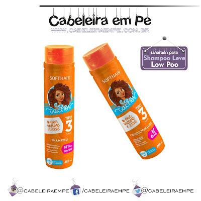 Linha Cachos Tipo 3 - Soft Hair. Shampoo sem sulfato e Condicionador sem petrolatos liberados para Low Poo.