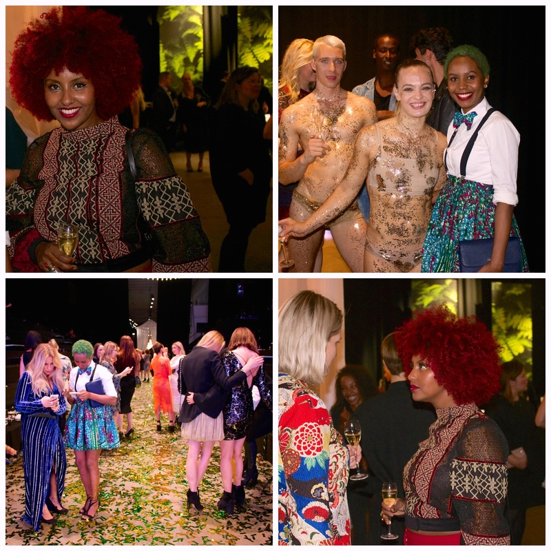 a compilation of photos which may consist of magnum ice creams, models, attendees of the fashion show