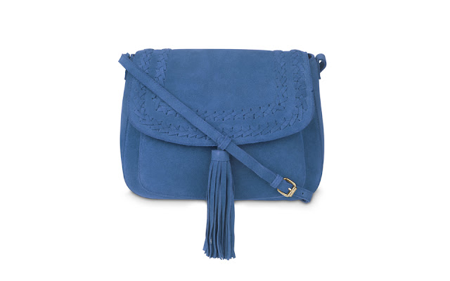 Laura Ashley blue plait detail tassel suede cross body bag