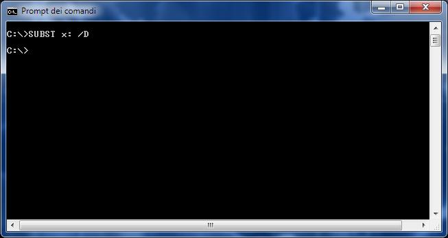 Subst, eliminazione di un'unità virtuale