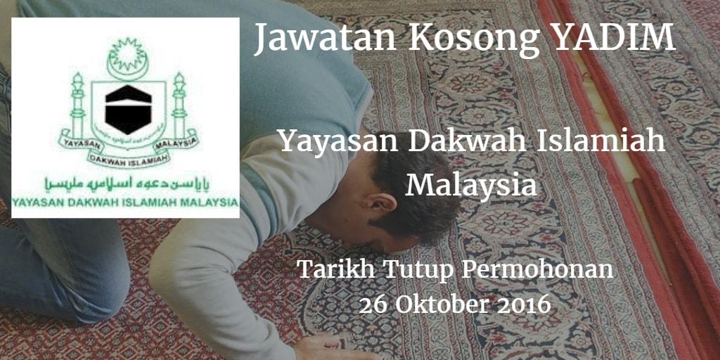 Jawatan Kosong YADIM 26 Oktober 2016