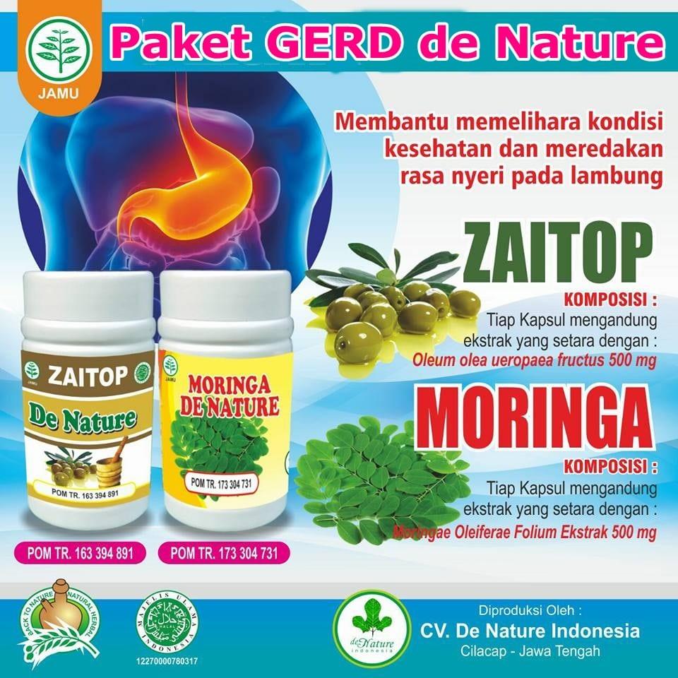 Kapsul Moringa dan Zaitop Obat Asam Lambung Naik / GERD de Nature