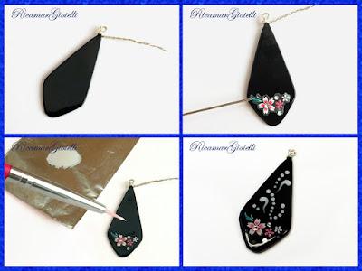 decorare gli orecchini con sticker per unghie
