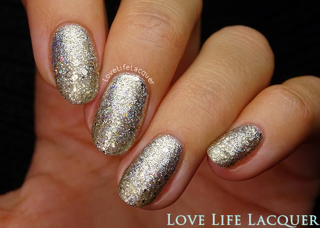Silver Gold Glitter Gradient nail art