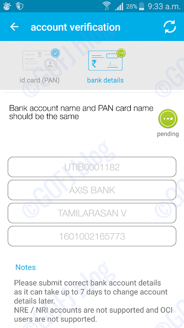 Zebpay bank account verification process pending