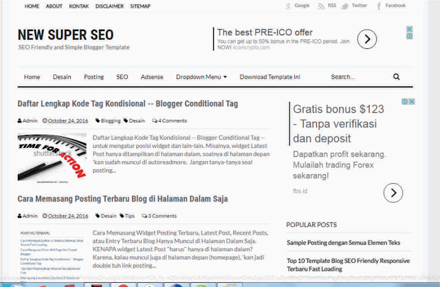 Gratis Template Blogger New Super SEO Friendly | eaweo.com