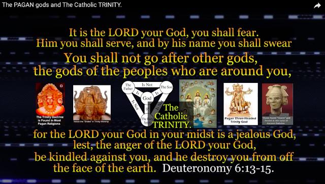 The MAN MADE CATHOLIC PAGAN TRINITY, THREE gods.