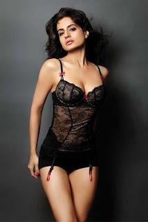 Amisha Patel Black Lingerie Standing Pose