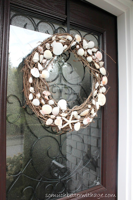 Shell and grapevine wreath  www.somuchbetterwithage.com