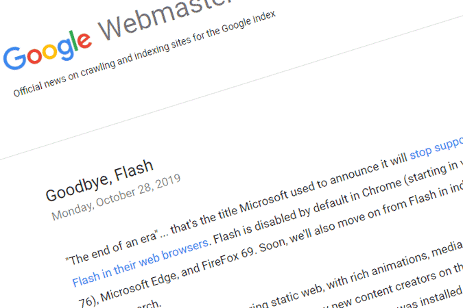 google stop indexing flash site