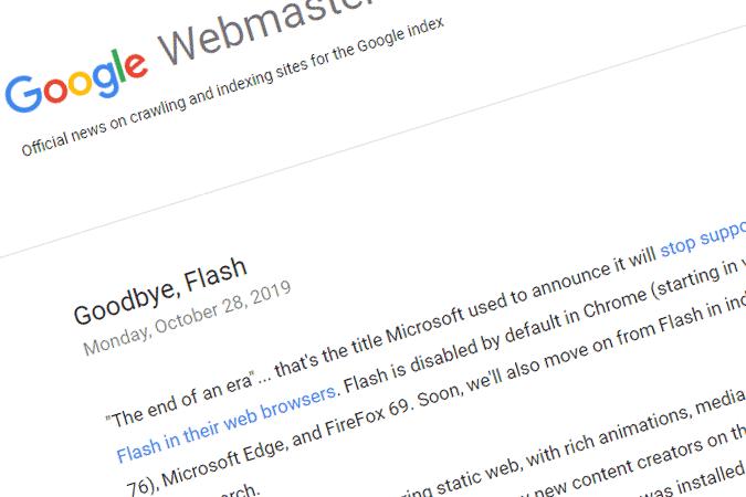 Google Hentikan Pengindeksan terhadap Situs dengan Flash
