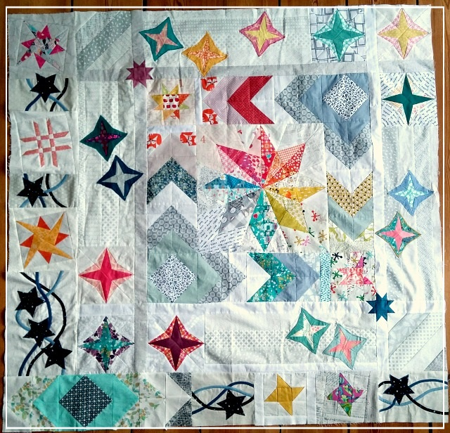 Puppilalla, Round Robin Quilt, Rakish Needle Robin, Foundation Paper Piecing, Applique, Star Quilt