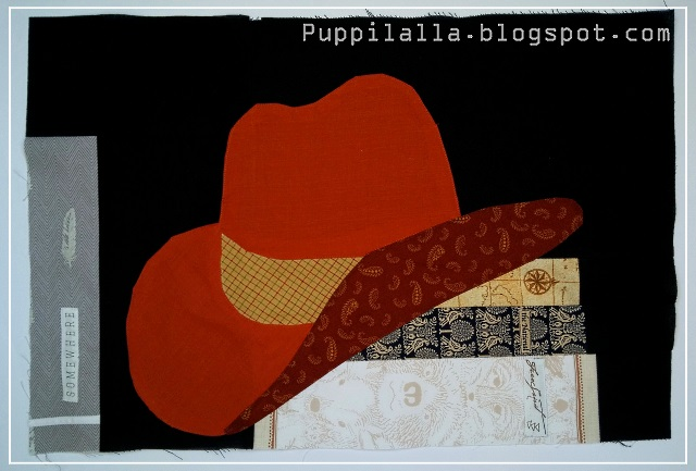 Puppilalla, bookshelf quilt, library quilt, scrap busting, Cowboy Quilt, Applique