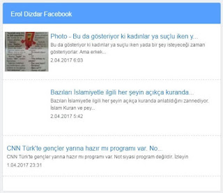 Facebook kişisel hesabınızdaki paylaşımları sitenizde yayınlayın