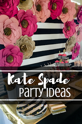 Kate Spade party theme ideas. Kate Spade black, white, pink and gold bridal shower decorations. Paper flower backdrop tips.
