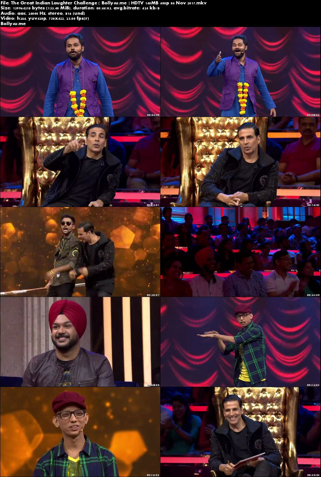 The Great Indian Laughter Challenge HDTV 140MB 480p 04 Nov 2017 Download