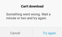 Can't Download. Something went wrong. Wait a minute or two and try again
