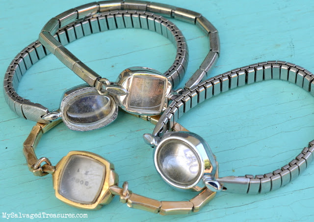upcycled wrist watches jeweled bracelets