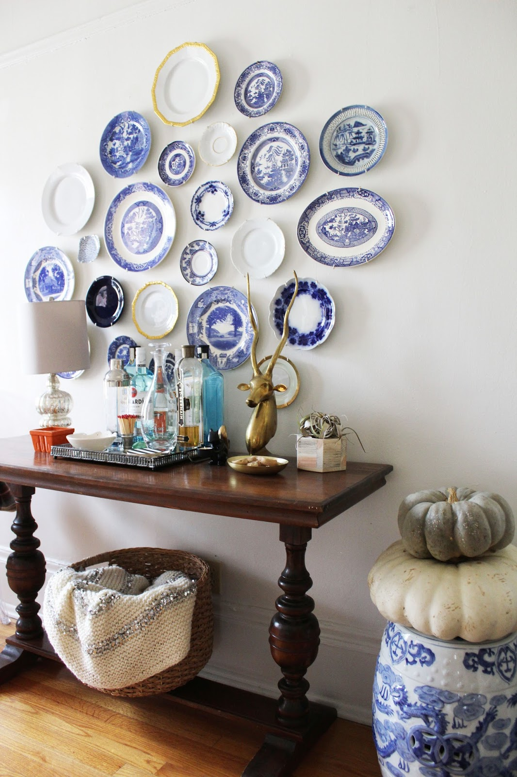 Blue And White Plate Gallery Wall Stripes Whimsy