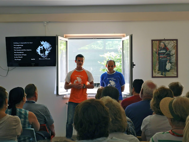 Two American men Comunità Cenacolo, Medjugorje providing testimonials to pilgrimages