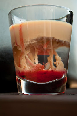 Halloween cocktail, shot, peach schnapps, Baileys, Irish Cream, grenadine, Brain Hemorrhage shot