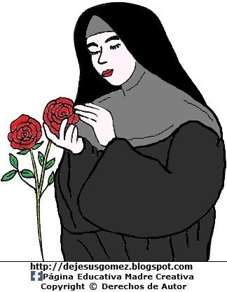 Dibujo de Santa Rosa de Lima con rosas