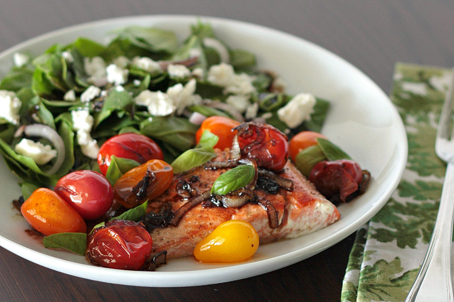 salmon with blistered tomatoes