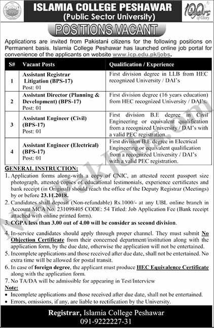 Islamia College Peshawar November 2018 Jobs