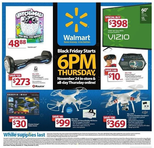 Walmart Ad DJI Drone, Hovertrax, Dream Vision Virtual Reality Headset. Walmart  Black Friday 2016 ...
