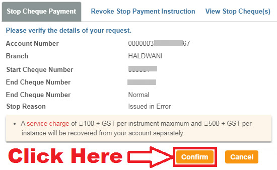 how to stop cheque payment in sbi online
