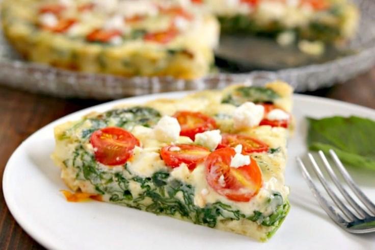 Spinach, Tomato and Feta Crustless Quiche #vegan #healthy