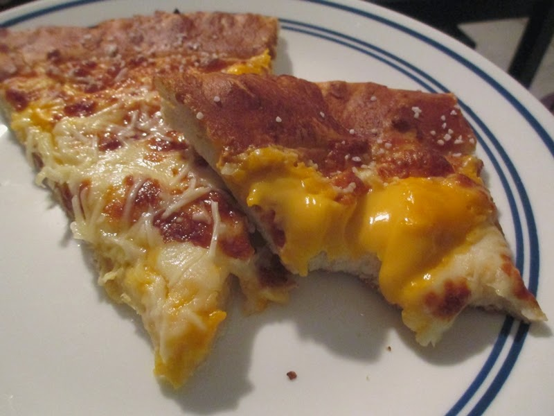 Little Caesars Pretzel Crust Pizza with cheese sauce