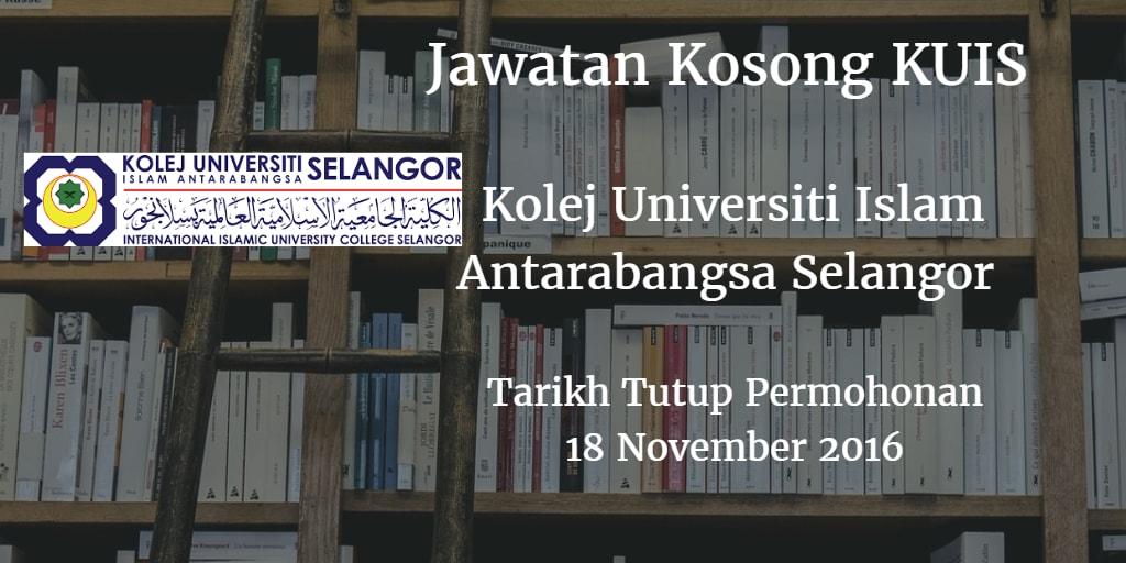 Jawatan Kosong KUIS 18 November 2016
